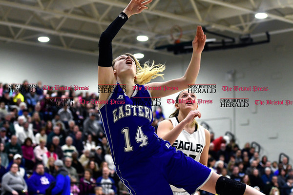 3/3/2017 Mike Orazzi | Staff Bristol Eastern's Diana Wnuk (14) during the Class LL Second Round Girls Basketball game with Enfield.
