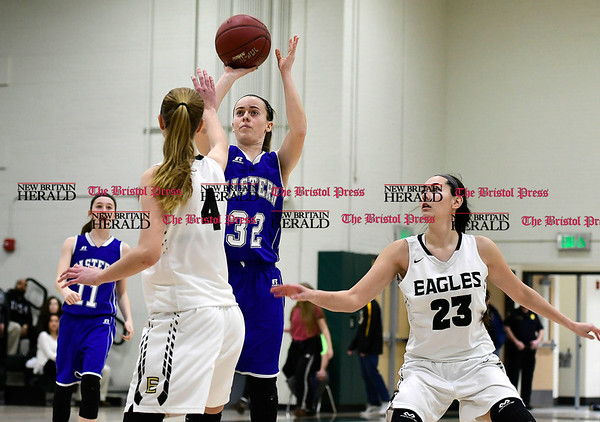 3/3/2017 Mike Orazzi   Staff Bristol Eastern's Jillian LeBeau (32) during the Class LL Second Round Girls Basketball game with Enfield.