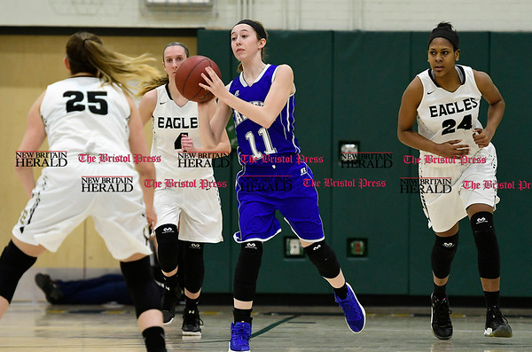 3/3/2017 Mike Orazzi   Staff Bristol Eastern's Hannah Maghini (11) during the Class LL Second Round Girls Basketball game with Enfield.