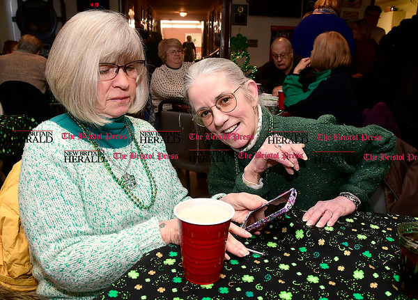 3/4/2017 Mike Orazzi   Staff Sisters Sandra and Jerilyn Kindelan during the St. Patrick's Day Parade Committee Fundraiser/Sash Ceremony, AOH Irish Social Club in New Britain Saturday evening.