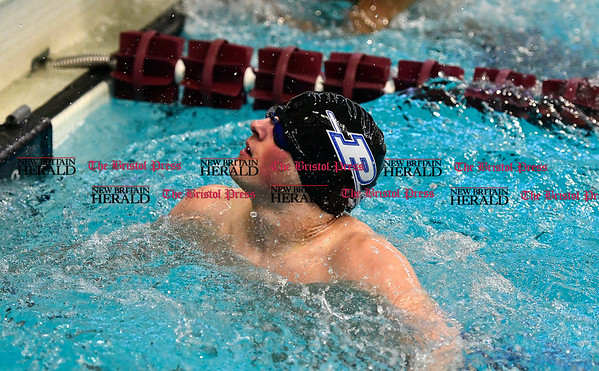 3/4/2017 Mike Orazzi   Staff Plainville High School swim team member Graham Eyres during the CCC Swimming Championship held at Bulkeley High School in Hartford Saturday.