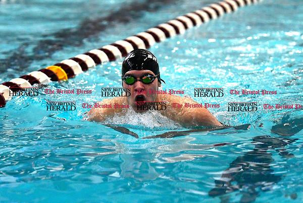 3/4/2017 Mike Orazzi | Staff Bristol swim team member Elijah Ortiz during the CCC Swimming Championship held at Bulkeley High School in Hartford Saturday.