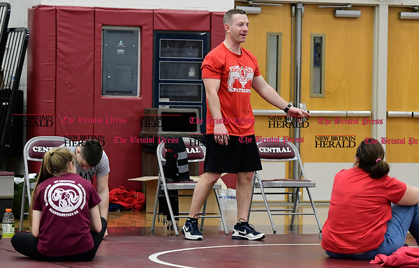 3/4/2017 Mike Orazzi   Staff Bristol Central High School's Ryan Broderick while participating in the Pushups for Patriots, a 24-hour exercise marathon fundraising event for the Semper Fi Fund starting Saturday morning and continuing to Sunday morning.