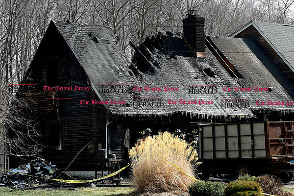 3/4/2017 Mike Orazzi   Staff The scene of a fire on Baldwin Drive in Bristol Saturday morning destroying the garage portion of the home.