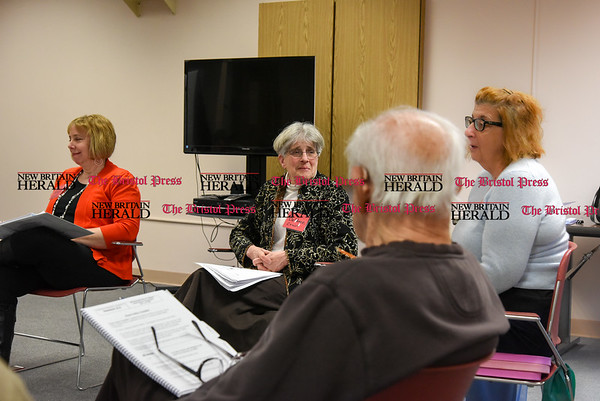030717 Wesley Bunnell   Staff Newington seniors are participate in a fall prevention course offered at the Senior & Disabled Center on March 7, 2017. From the left is class facilitator Hilary Norcia, class facilitator Debbye Rosen & class participant Phyllis Battiste.
