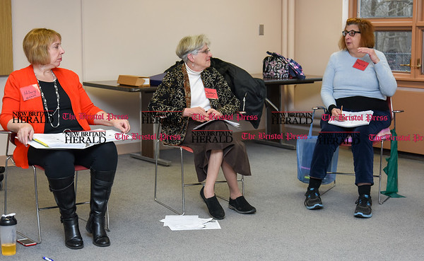 030717 Wesley Bunnell | Staff Newington seniors are participate in a fall prevention course offered at the Senior & Disabled Center on March 7, 2017. From the left is class facilitator Hilary Norcia, class facilitator Debbye Rosen & class participant Phyllis Battiste.