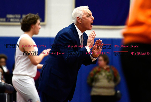 3/7/2017 Mike Orazzi   Staff St. Paul's Steve Phelps during the Class S First Round Boys Basketball Game in Bristol Tuesday night.