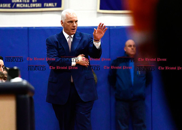 3/7/2017 Mike Orazzi | Staff St. Paul's Steve Phelps during the Class S First Round Boys Basketball Game in Bristol Tuesday night.