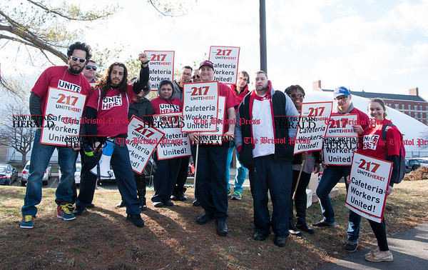 030817 Wesley Bunnell | Staff Cafeteria workers from Local 217 held a rally on the CCSU campus on Wednesday March 8 for a new contract.