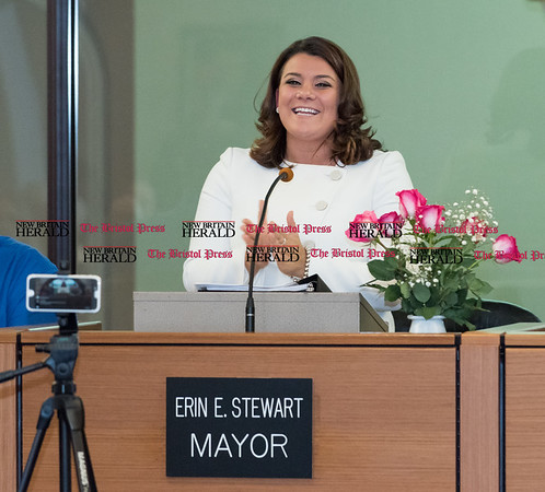 030817 Wesley Bunnell | Staff Mayor Erin Stewart gave her State of the City address on Wednesday evening March 8.