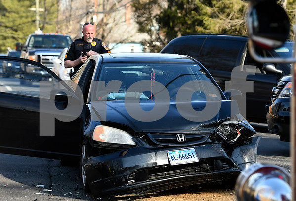 2/28/2018 Mike Orazzi | Staff One of the two cars involved in a crash at the intersection of Washington and Central Streets in Bristol Wednesday afternoon. Two refused treatment.