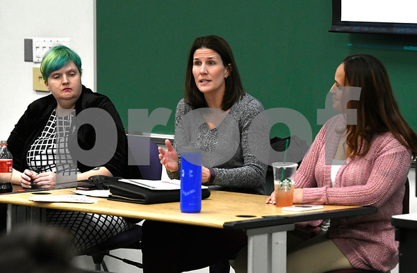 2/28/2018 Mike Orazzi | Staff Panelists Sarah Nichols, Joanna Blumetti and Jamaly Rios during a discussion about the opioid crisis held at Tunxis Community College, Wednesday afternoon.