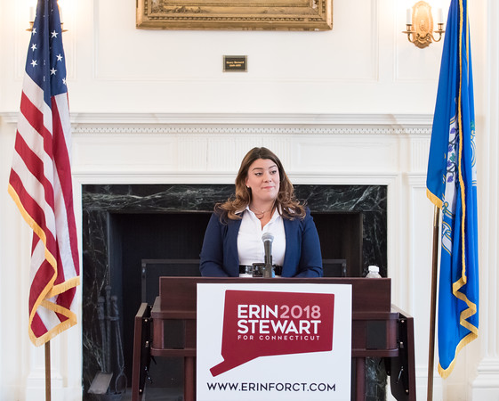 03/19/18 Wesley Bunnell | Staff New Britain Mayor Erin Stewart addresses attendees at CCSU's Founders Hall on Monday at noon as she officially announced her candidacy for CT Governor for the 2018 election.
