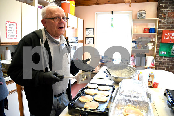 3/10/2018 Mike Orazzi | Staff Richard Rease while cooking pancakes during the New Britain Youth Museum at Hungerford Park's Annual Maple Sugaring and Pancake Breakfast fundraiser Saturday in Kensington.