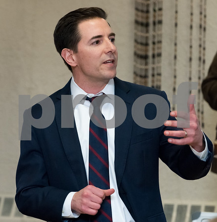 03/15/18 Wesley Bunnell | Staff Candidate for Attorney General Chris Mattei speaks at the Pulaski Club on Thursday evening as he along with other Democratic candidates for state office met with the Democratic Town Committee as well as New Britain residents.