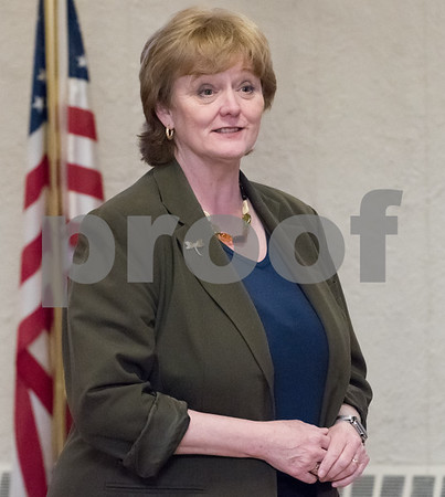 03/15/18 Wesley Bunnell | Staff Candidate for Attorney General Clare Kindall speaks at the Pulaski Club on Thursday evening as she along with other Democratic candidates for state office met with the Democratic Town Committee as well as New Britain residents.