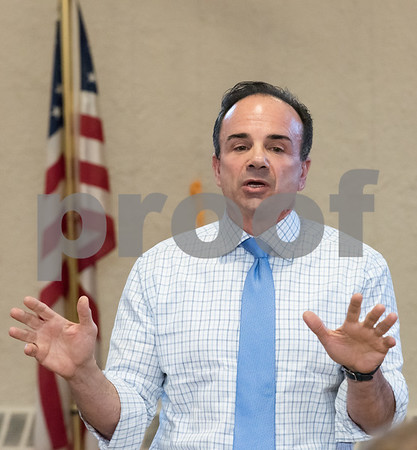 03/15/18 Wesley Bunnell | Staff Candidate for Governor Joe Ganim speaks at the Pulaski Club on Thursday evening as he along with other Democratic candidates for state office met with the Democratic Town Committee as well as New Britain residents.