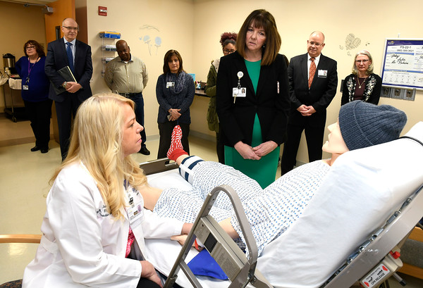 3/22/2018 Mike Orazzi   Staff Bristol Hospital's Jeannie Robbins and Nancy LaMonica during interview a mannequin during a ribbon cutting event for its new nursing simulation room on Level B of the hospital's Center for Surgery and Endoscopy.