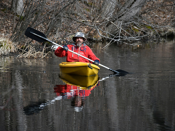 3/27/2018 Mike Orazzi | Staff Dan Caron while out on Birge Pond in Bristol Tuesday.