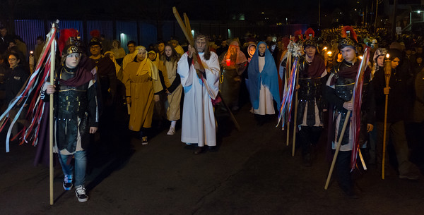03/30/18 Wesley Bunnell | Staff Sacred Heart Church held a Stations of the Cross on Friday night featuring a procession up Broad St looping back around to finish at the church.