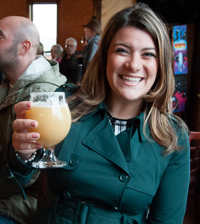03/30/18 Wesley Bunnell   Staff Mayor Erin Stewart smiles just after 5 Churches Brewing held their ribbon cutting with city officials on Friday at noon to a crowd of customers lined down the sidewalk.