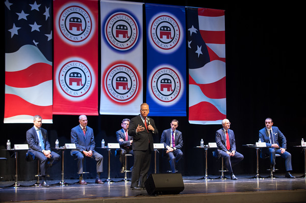 04/04/18 Wesley Bunnell | Staff The CT GOP held their 4th gubernatorial debate on Wednesday April 4 at New Britain High School featuring 9 candidates but excluding New Britain Mayor Erin Stewart who has not raised the minimum financial support needed to participate. Mark Boughton addresses the audience.