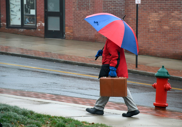 4/4/2018 Mike Orazzi | Staff Another rainy day in Bristol near the intersection of Main and High Streets Wednesday morning.