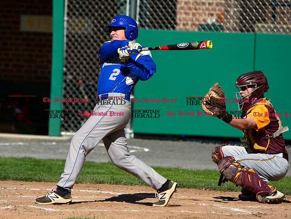 5/3/2017 Mike Orazzi   Staff Bristol Eastern's Shawn Savoir (2) during Wednesday's baseball game with New Britain at Muzzy Field.