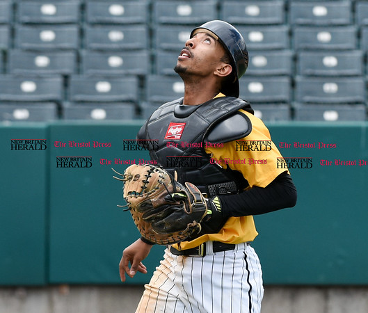 050317 Wesley Bunnell | Staff New Britain Bees vs Somerset Patriots in a Wednesday morning game attended by areas school children. James Skelton (3) looks up as a foul ball drifts out of play.