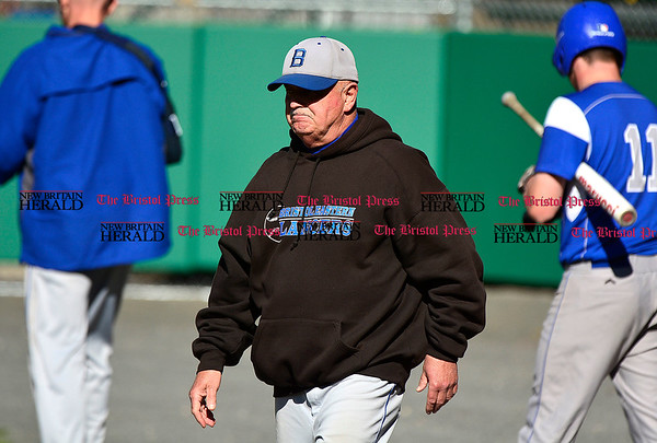 5/3/2017 Mike Orazzi | Staff Bristol Eastern's Mike Giovinazzo during Wednesday's baseball game with New Britain at Muzzy Field.
