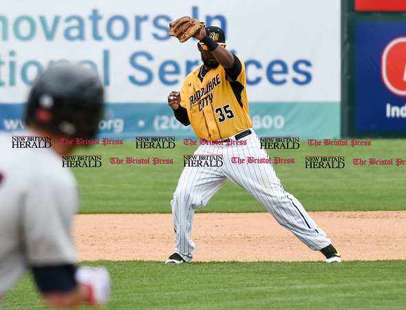 050317 Wesley Bunnell | Staff New Britain Bees vs Somerset Patriots in a Wednesday morning game attended by areas school children. Jovan Rosa (35) with a line drive hit directly to him.