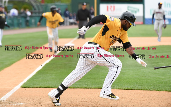 050317 Wesley Bunnell | Staff New Britain Bees vs Somerset Patriots in a Wednesday morning game attended by areas school children. Jovan Rosa (35) with James Skelton (3) on third base.