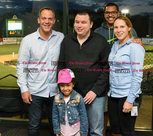 050217 Wesley Bunnell | Staff New Bees owner Anthony Iacovone, left, Bryce Weiler, Dwayne Hagenow, Marloes van Eijkelenburg and Kiya Hagenow in front.