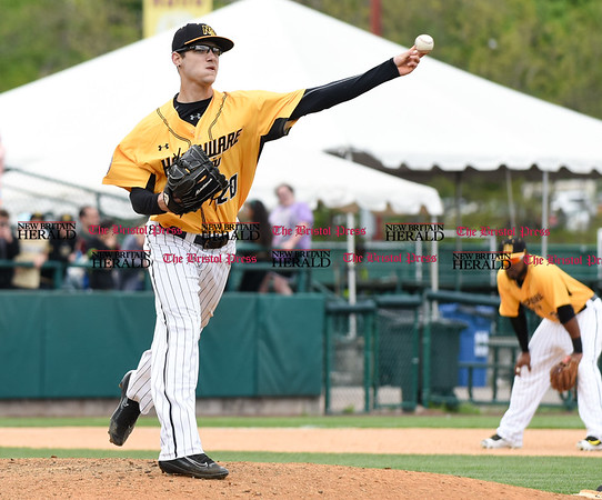 050317 Wesley Bunnell | Staff New Britain Bees vs Somerset Patriots in a Wednesday morning game attended by areas school children. Brandon Fry (20) with a pick off attempt at first base.