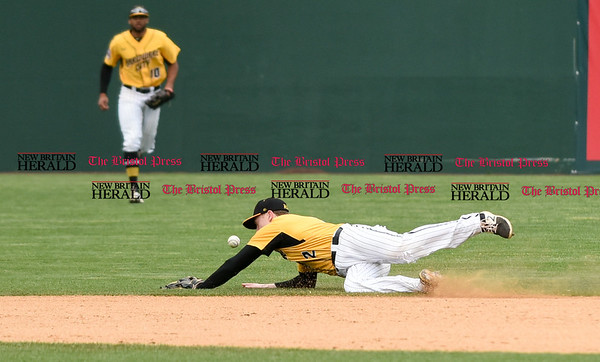 050317 Wesley Bunnell   Staff New Britain Bees vs Somerset Patriots in a Wednesday morning game attended by areas school children. Jake McGuiggan (2) is unable to make the play on a ground ball up the middle.