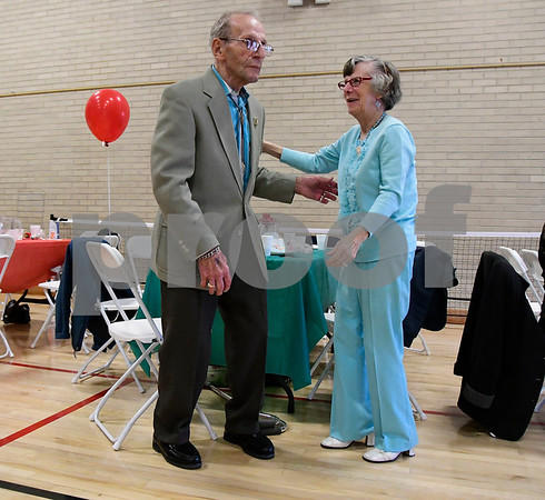 5/4/2017 Mike Orazzi | Staff Frank Wilgos and Dee Kochanski during the senior prom at the Bristol Senior Center Thursday.