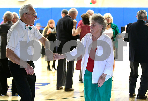 5/4/2017 Mike Orazzi | Staff Bruno Siwik and Geri Trillo during the senior prom at the Bristol Senior Center Thursday.