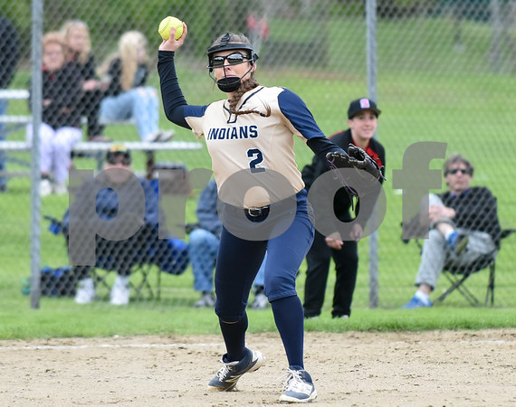 051017 Wesley Bunnell | Staff Newington High School softball vs E.O. Smith on Wednesday afternoon. Pitcher Katerina Lagace (2) fields a ground ball and throws to first for the out.