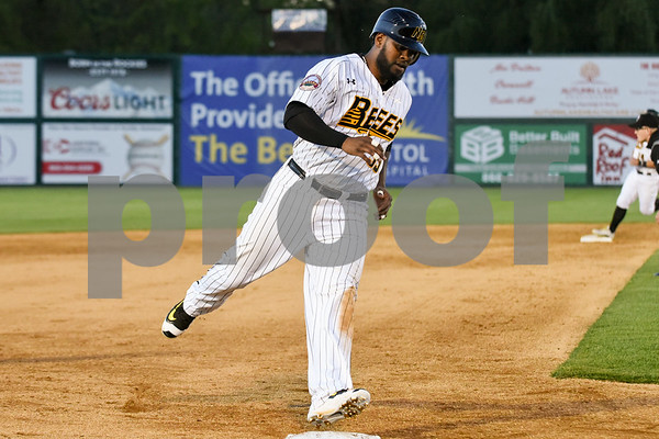 051117 Wesley Bunnell | Staff New Britain Bees won in a 9th inning walk off home run by Conor Bierfeldt (28) on Thursday evening 4-3 over the Long Island Ducks. Jovan Rosa (35) rounds third base after Beirfeldt's three run first home run of the night.