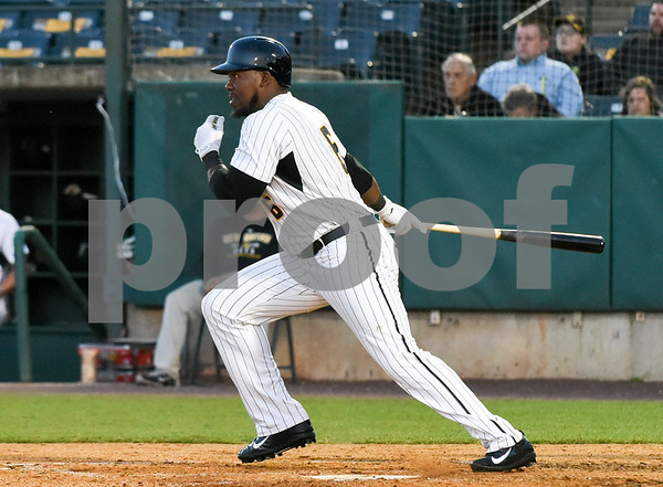 051117 Wesley Bunnell | Staff New Britain Bees won in a 9th inning walk off home run by Conor Bierfeldt (28) on Thursday evening 4-3 over the Long Island Ducks. Jamar Walton (6).