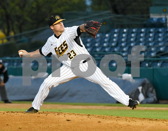 051117 Wesley Bunnell | Staff New Britain Bees won in a 9th inning walk off home run by Conor Bierfeldt (28) on Thursday evening 4-3 over the Long Island Ducks. Eric Fornataro (23).