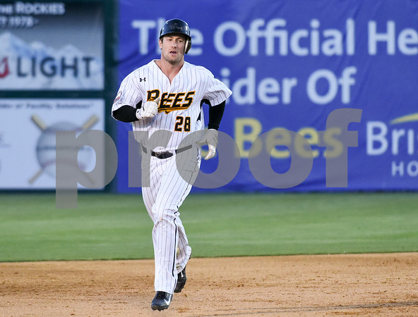 051117 Wesley Bunnell | Staff New Britain Bees won in a 9th inning walk off home run by Conor Bierfeldt (28) on Thursday evening 4-3 over the Long Island Ducks. Conor Bierfeldt (28) rounds second base after hitting a three run home run in the fourth inning.