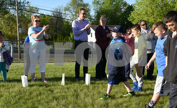 051117 Wesley Bunnell | Staff A Relay for Life was held on Thursday at South Side School to benefit 10 year old Connor Albert, aka Captain Connor, who was diagnosed with a form of bone cancer in April 2016. Participants lined the course and cheered on Connor was he walked the course.