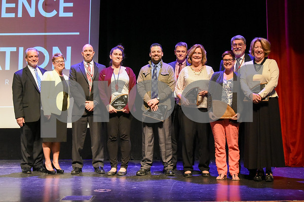 051517 Wesley Bunnell | Staff The First Annual Excellence in Education Awards Ceremony took place at New Britain High School on Monday evening. Receiving the Superintendent's Pursuing Excellence Awards are teachers representing Pulaski's Math Team for grades 6-8.