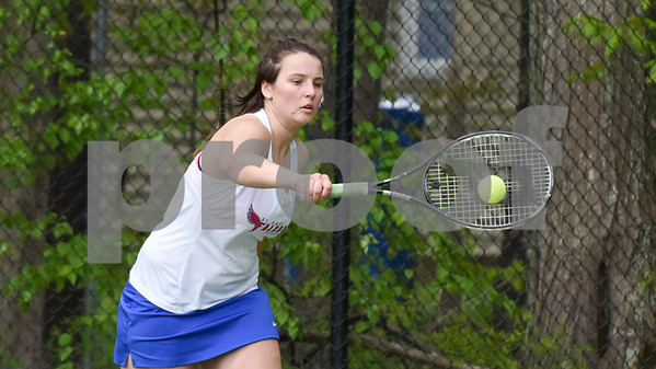 051517 Wesley Bunnell | Staff St. Paul High School girls tennis defeated Holy Cross in a quarter final NVL match on Monday afternoon. Sophia Penisse.