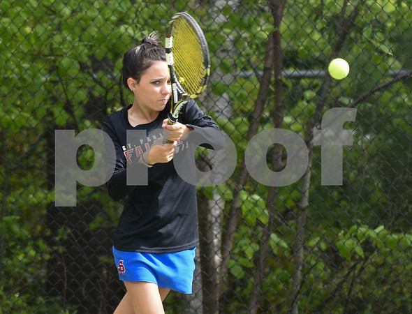 051517 Wesley Bunnell | Staff St. Paul High School girls tennis defeated Holy Cross in a quarter final NVL match on Monday afternoon. Victoria Kilbourne.
