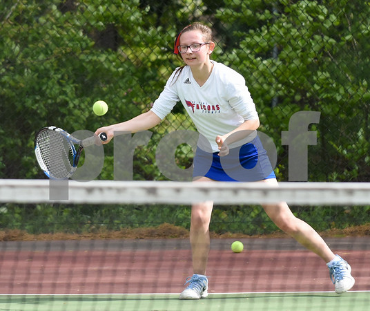 051517 Wesley Bunnell | Staff St. Paul High School girls tennis defeated Holy Cross in a quarter final NVL match on Monday afternoon. Katie Pauloz.