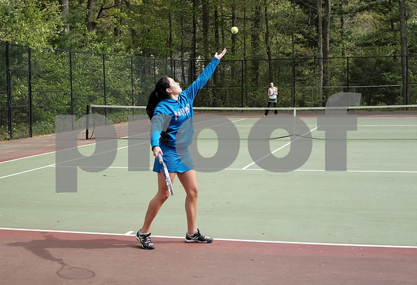 051517 Wesley Bunnell | Staff St. Paul High School girls tennis defeated Holy Cross in a quarter final NVL match on Monday afternoon. Natasha Kempes.