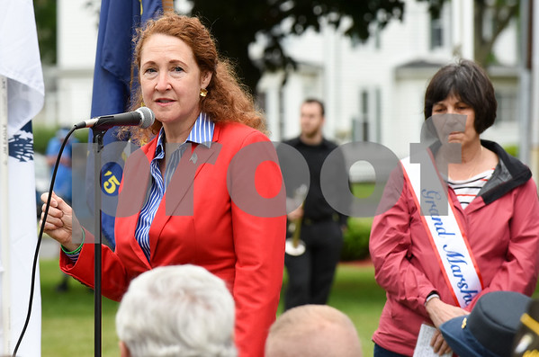052917 Wesley Bunnell | Staff Plainville held their annual Memorial Day Parade on Monday morning followed by a memorial unveiling dedicated to Gold Star Families at Veterans Memorial Park. Congresswoman Elizabeth Esty speaks as Grand Marshal Sue Chase stands in the background.
