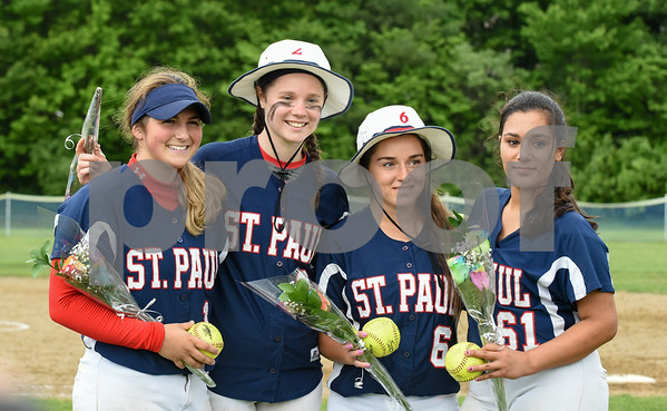 053017 Wesley Bunnell | Staff St. Paul softball defeated St. Barnard on Tuesday afternoon. Alessandra Milardo (11), Brigid Johndrow (2), Bianca DiLemia (6) and Brooke Perez (61).